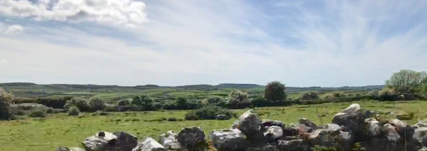 Stonewall in the Irish countryside